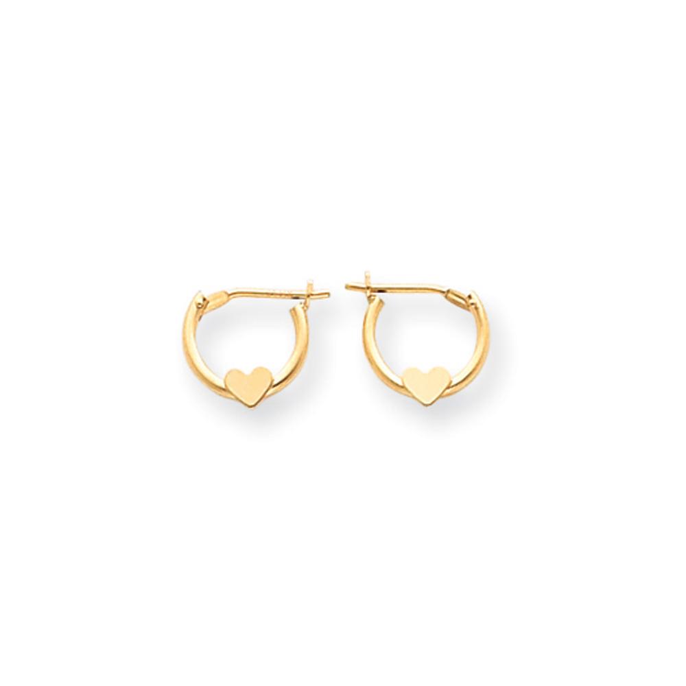9mm Children's Heart Hinged Post Hoop Earrings in 14k Yellow Gold