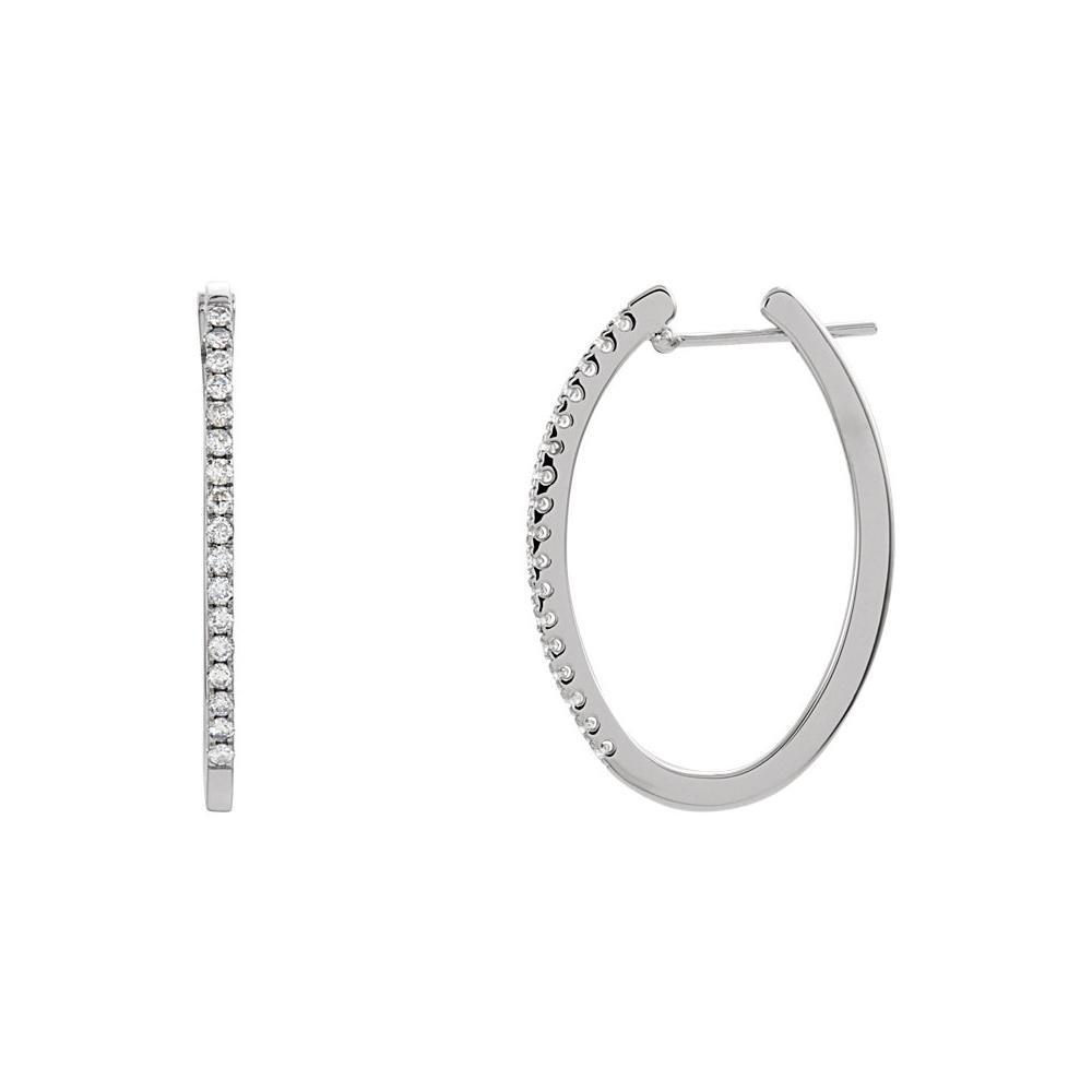 Diamond | Earring | White | Oval | Hoop | Gold