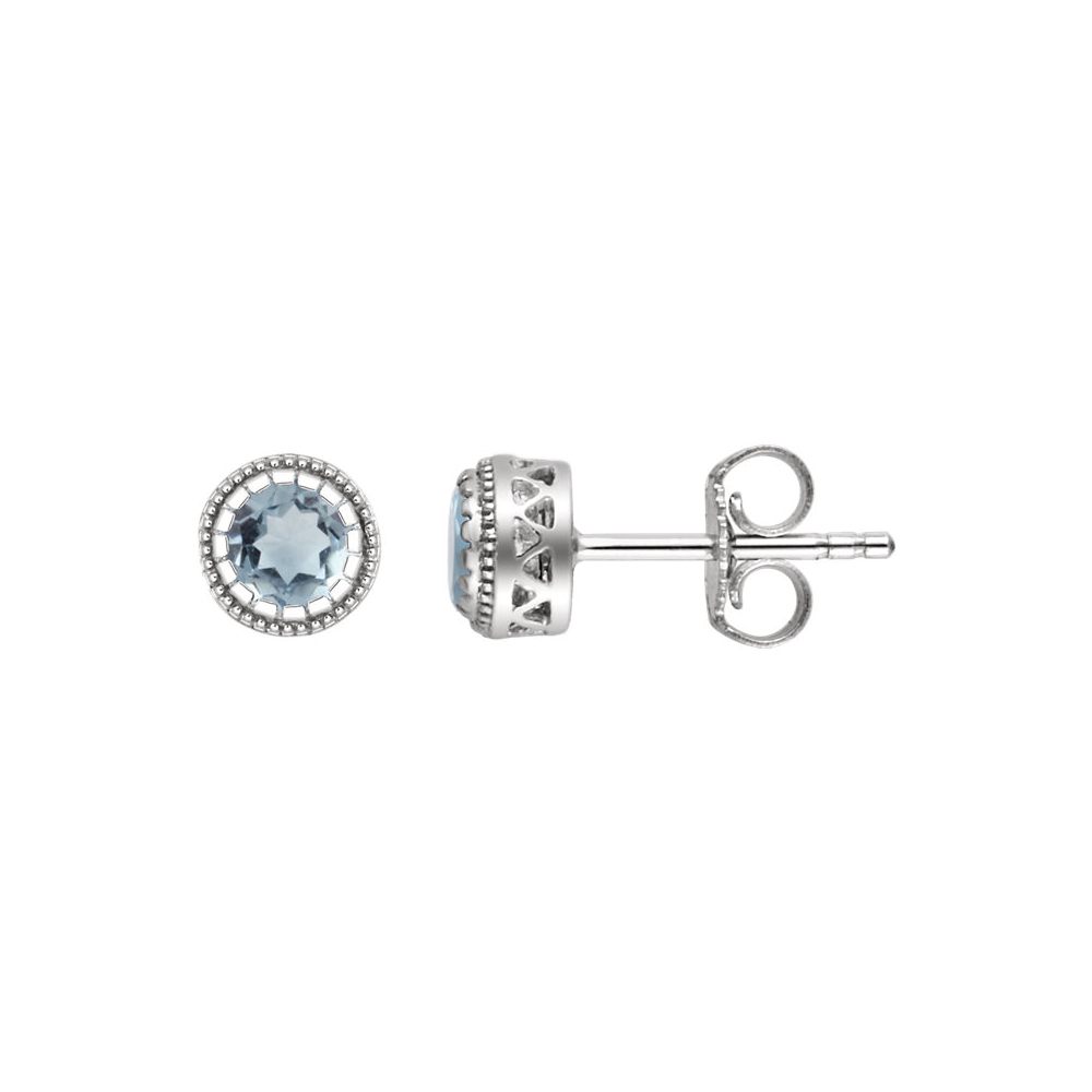 Birthstone | Earring | March | White | Stud | Gold