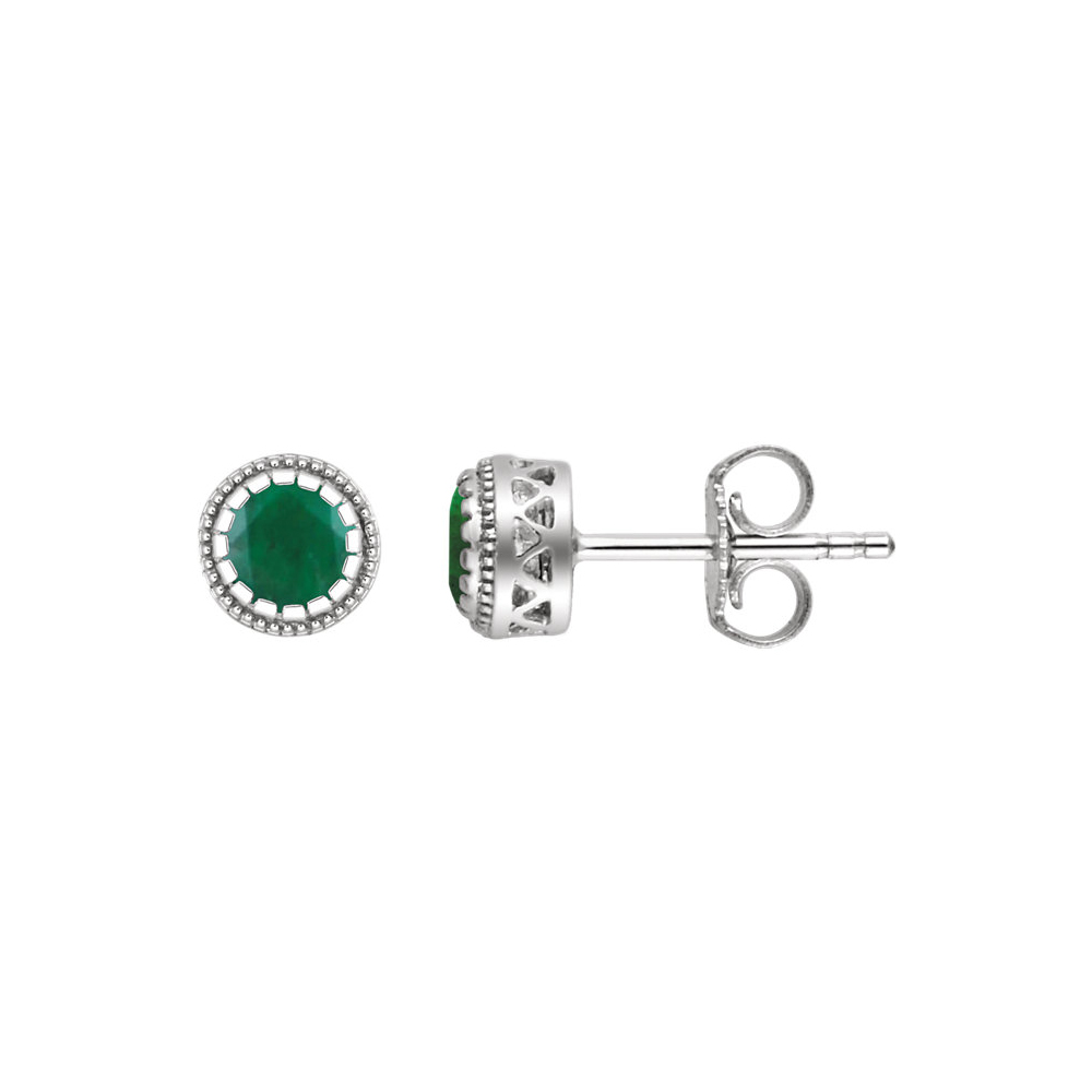 Birthstone | Emerald | Earring | White | Stud | Gold | May