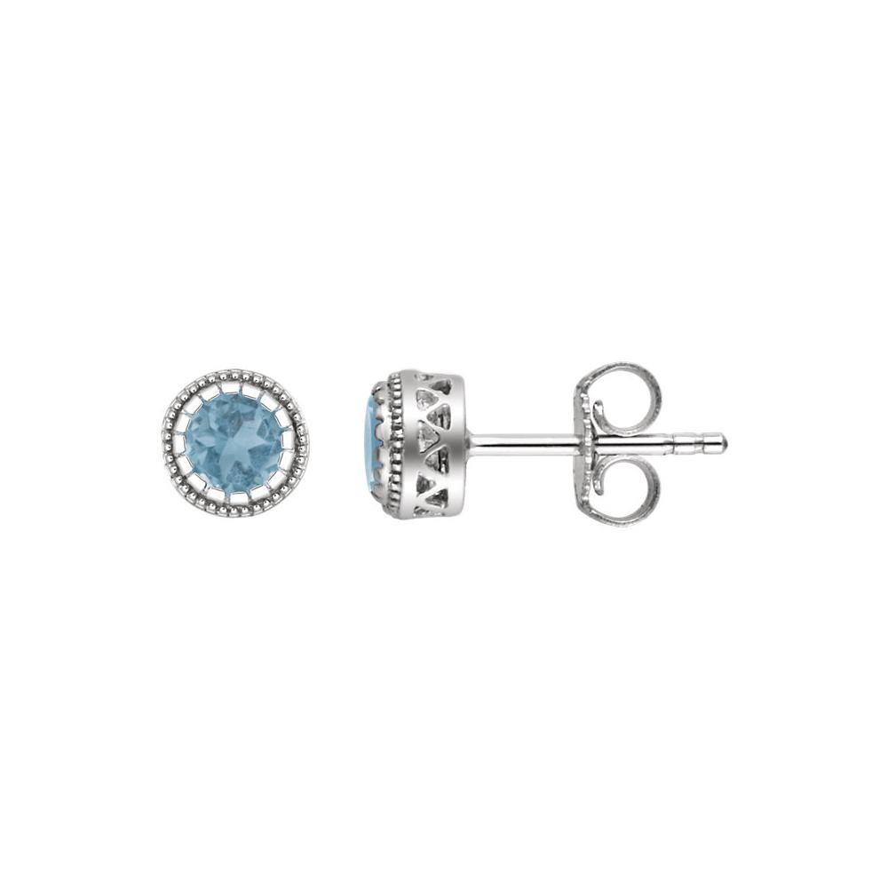 Birthstone | December | Earring | Topaz | White | Stud | Gold | Blue