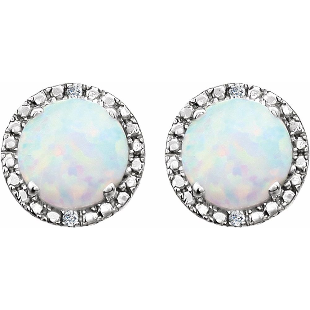 Sterling   Diamond   Earring   Halo   Opal   Lab