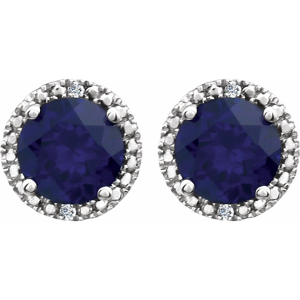 Sapphire | Sterling | Diamond | Earring | Halo | Blue