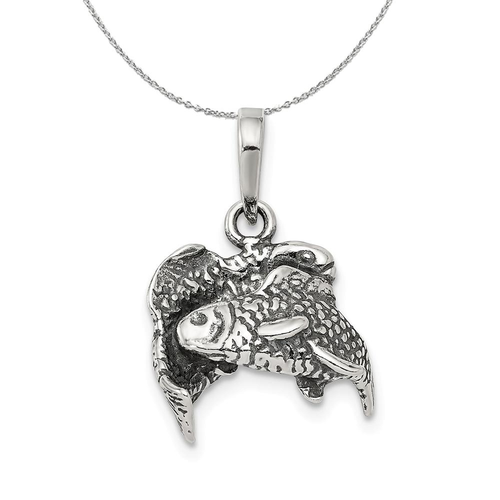 Sterling | Necklace | Antique | Zodiac | Silver | Fish | 3D