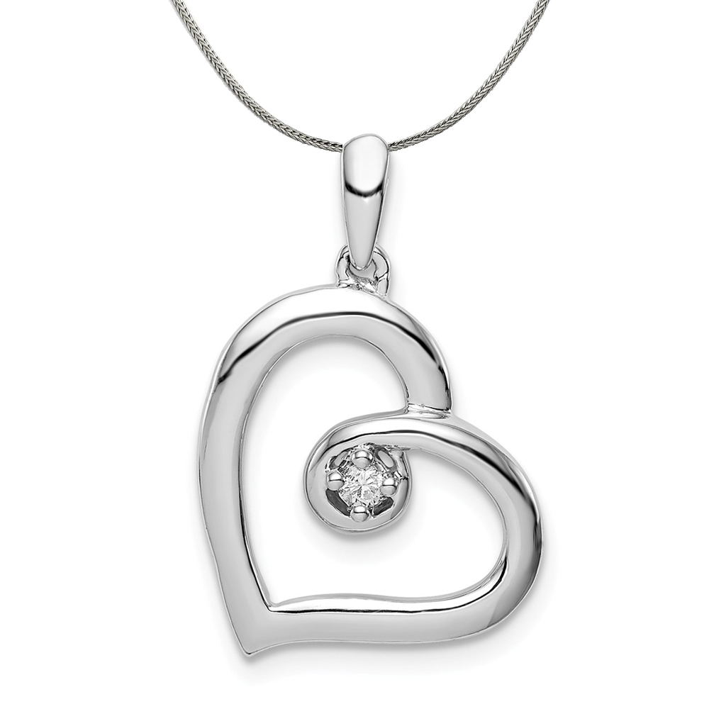 .05 Carat Diamond Open Heart Pendant in Silver Necklace - 20 In