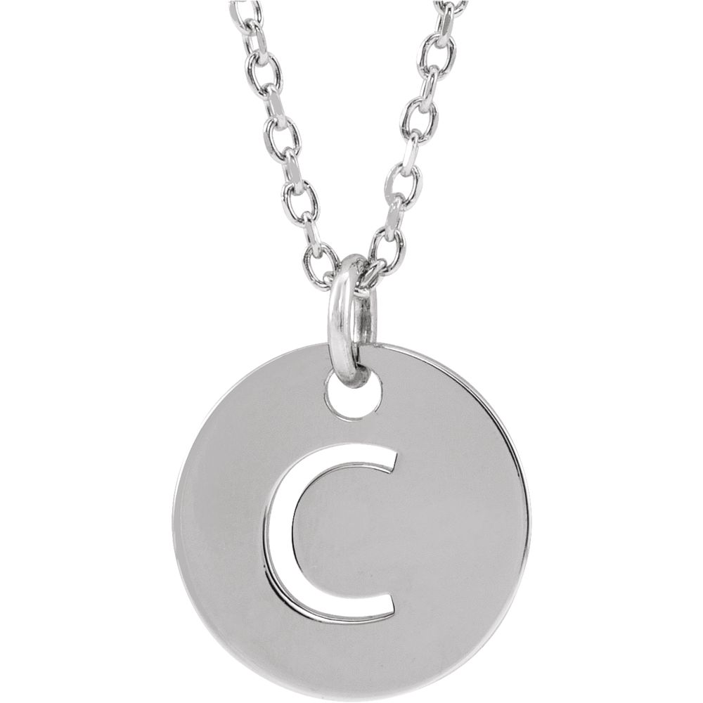 Sterling Silver Initial C, Small 10mm Pierced Disc Necklace, 16-18 In.