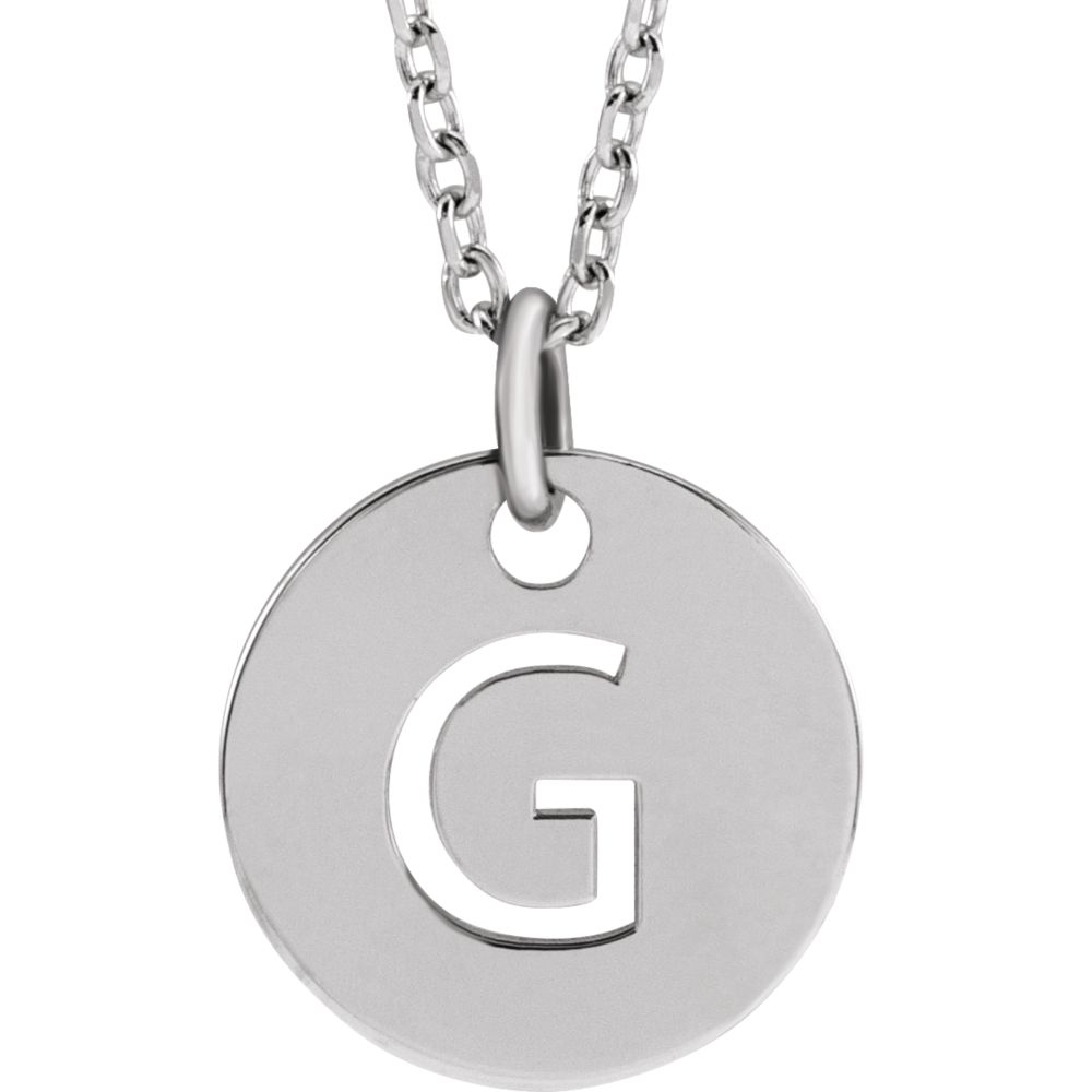 Sterling Silver Initial G, Small 10mm Pierced Disc Necklace, 16-18 In.