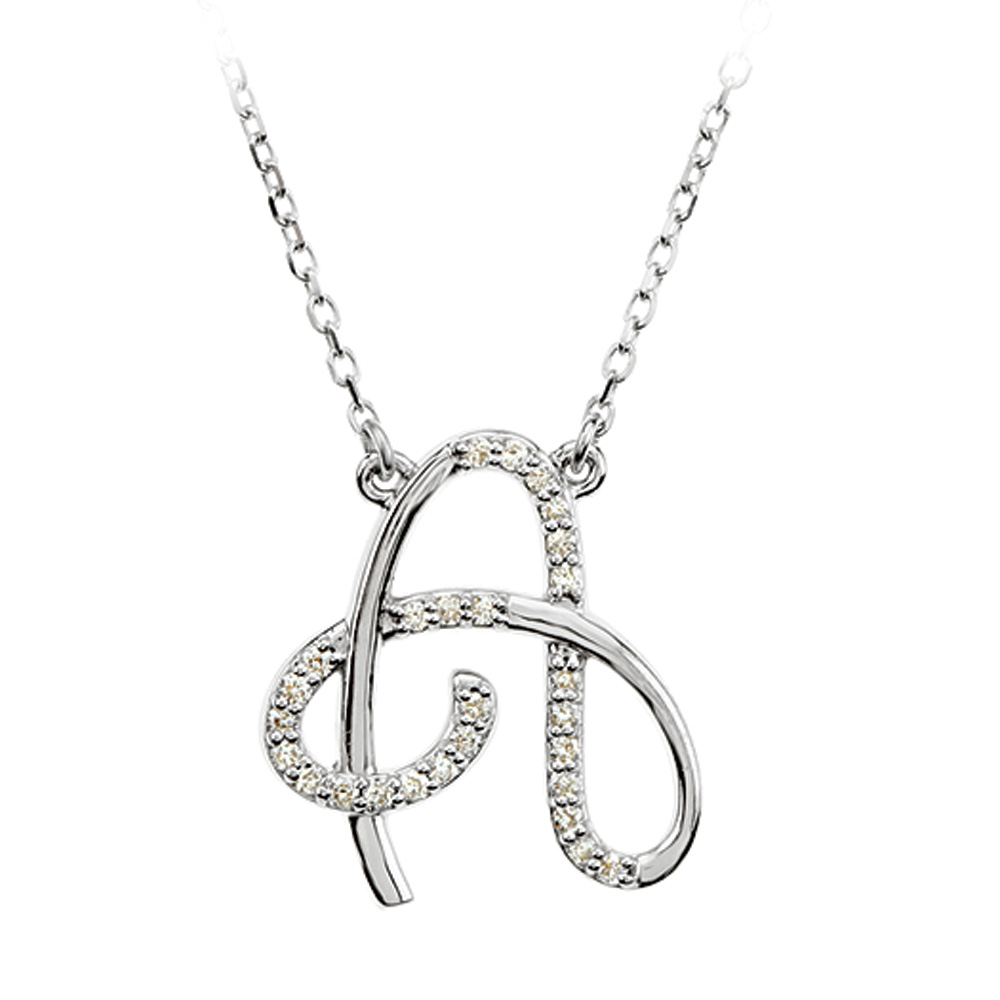 1/8 Ctw Diamond 14k White Gold Medium Script Initial A Necklace, 17in