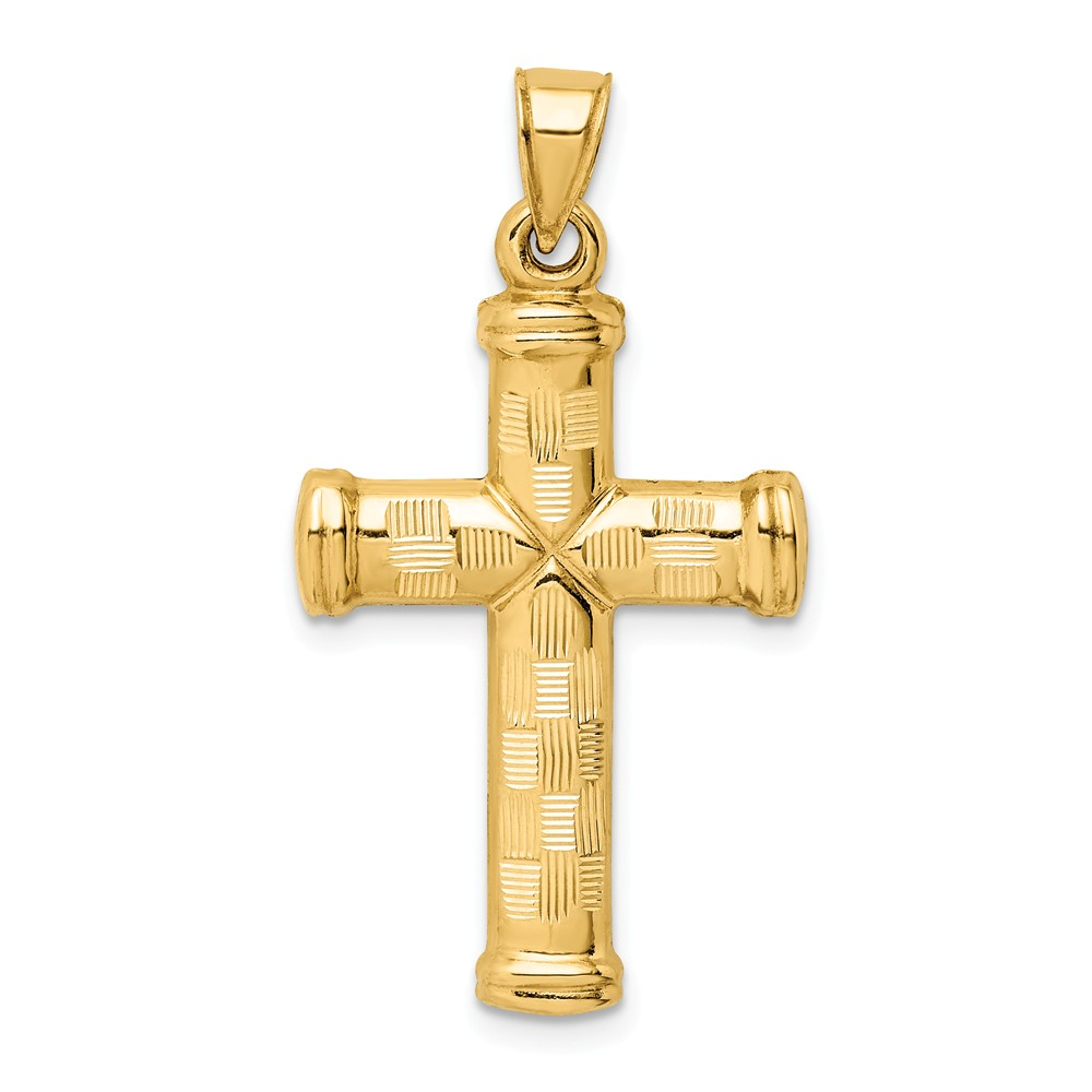 Mens 14k Yellow Gold Hollow Reversible Textured Cross Pendant, 18x34mm