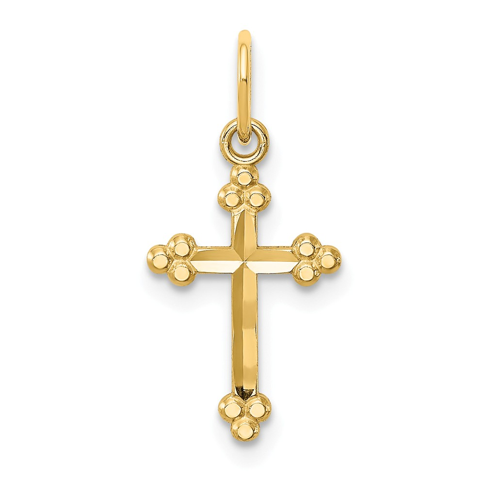 Children's 14k Yellow or White Gold Small Budded Cross Pendant, 9x20mm