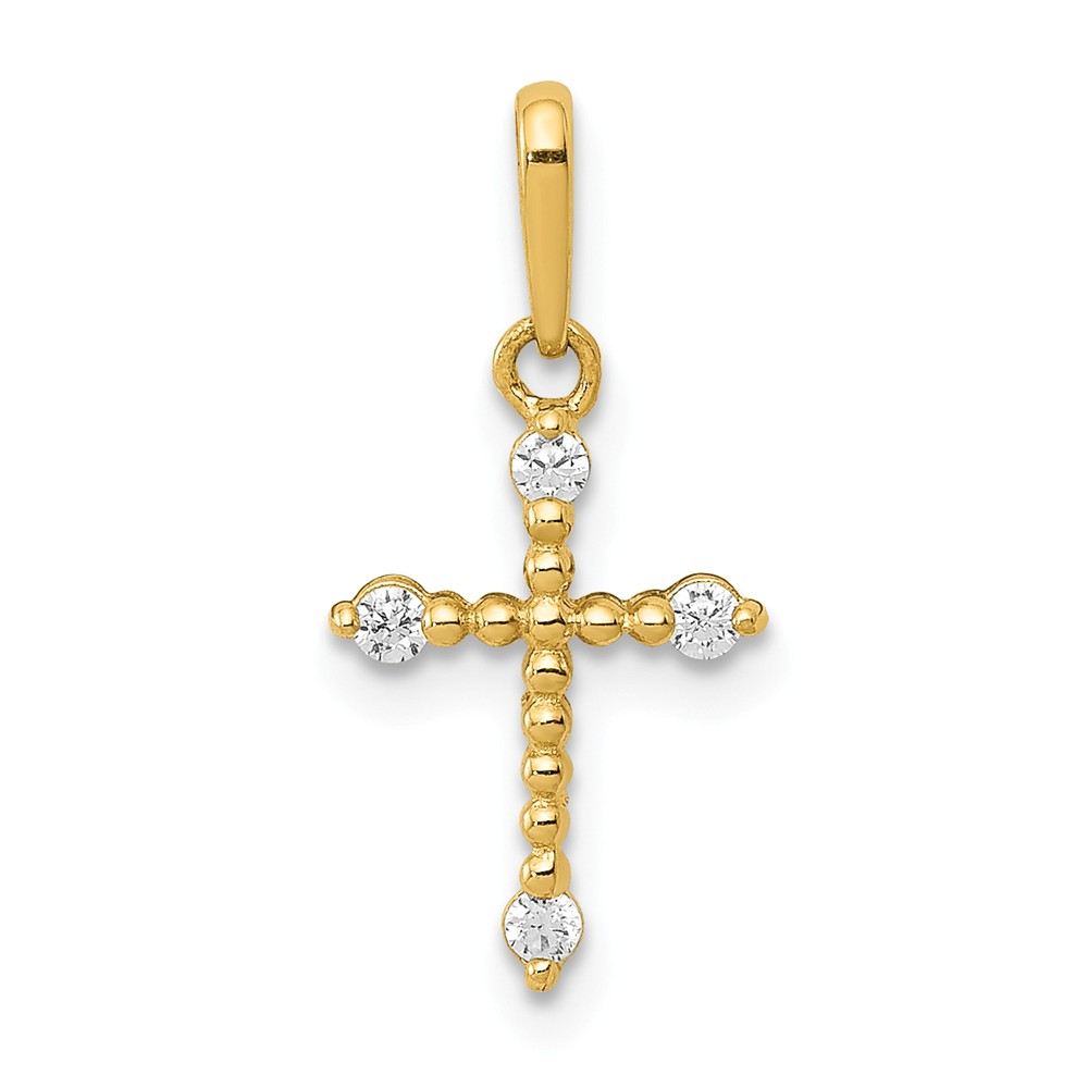 Children's 14k Yellow Gold & CZ Tiny Beaded Cross Pendant, 8 x 19mm