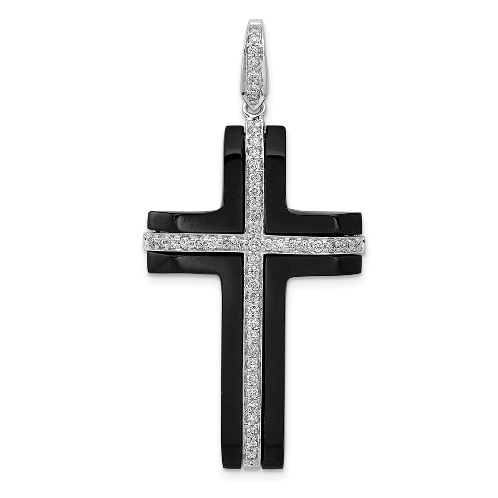 Diamond   Cross   White   Onyx   Gold   Men
