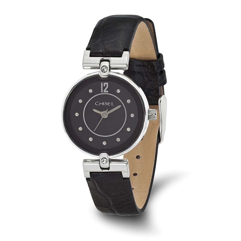 Chisel Ladies Black Dial Black Leather Watch