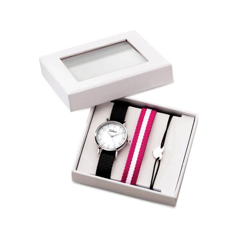 Colori Girls Black Watch w/Stripe Strap & Heart Bracelet Set