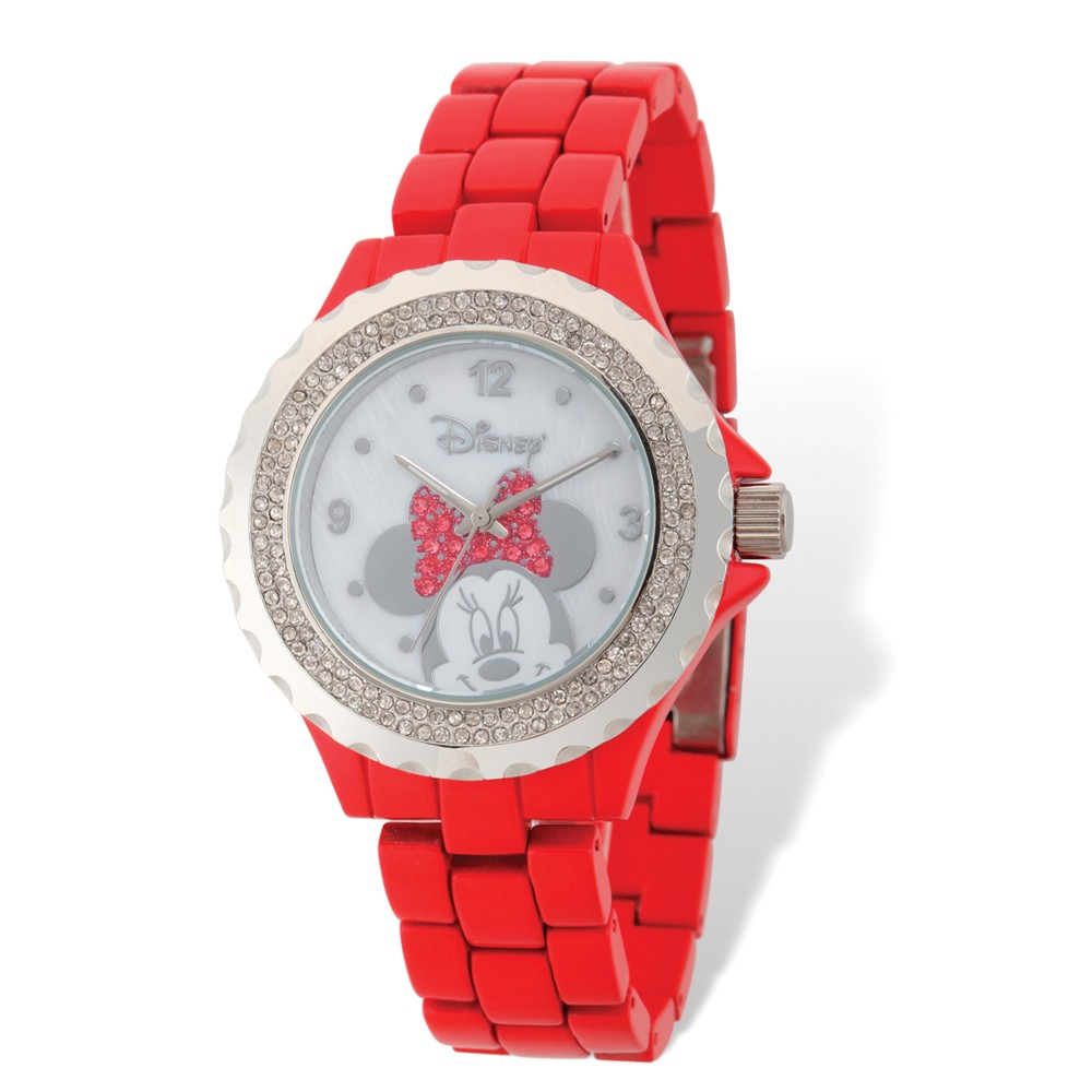 Disney Ladies Size Minnie Mouse Bow Red Band Watch