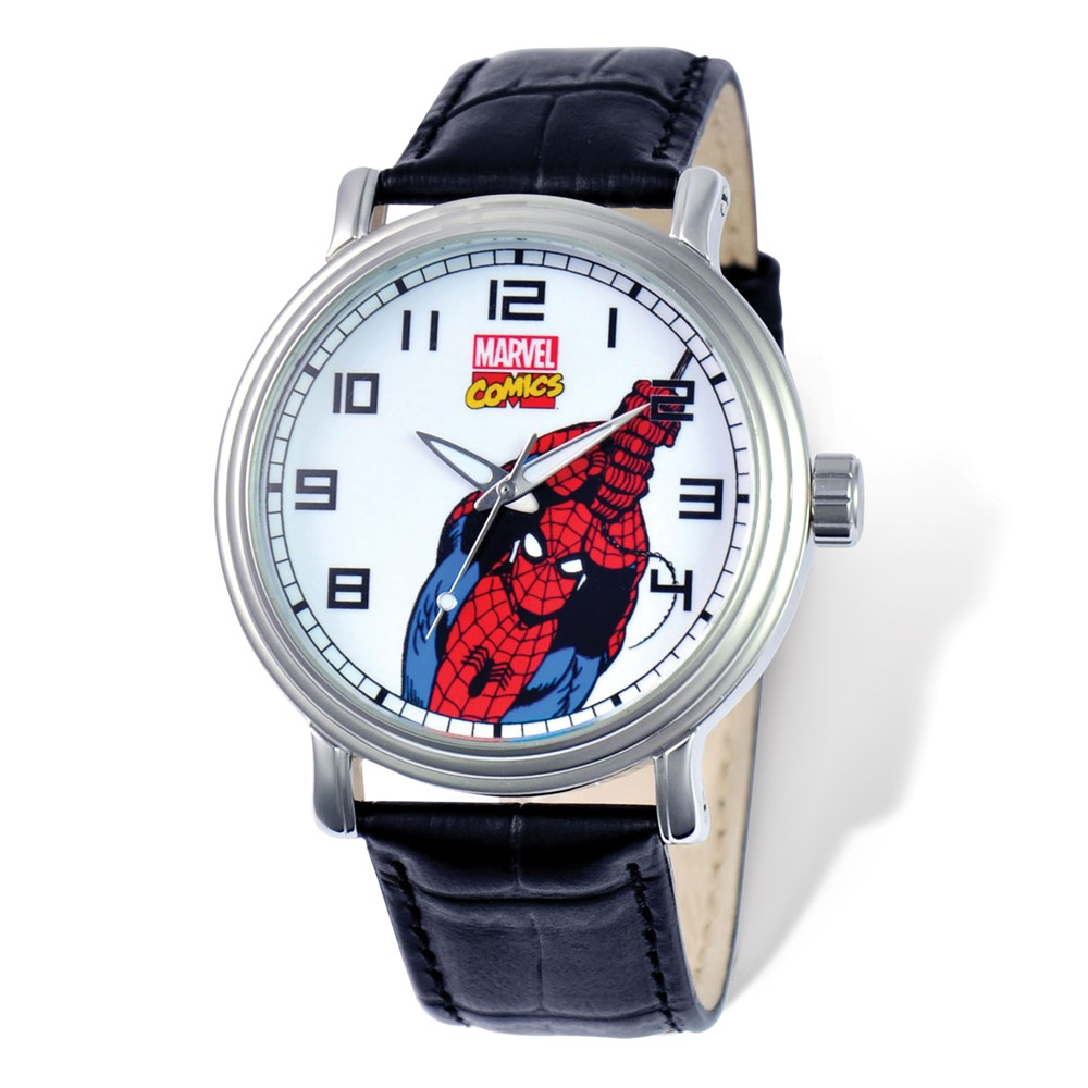 Spiderman | Leather | Marvel | Adult | Watch | Strap | Black | Size