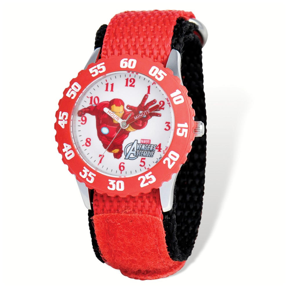 Avengers | Velcro | Marvel | Teach | Adult | Watch | Iron | Time | Band | Size | Man | Men | Red