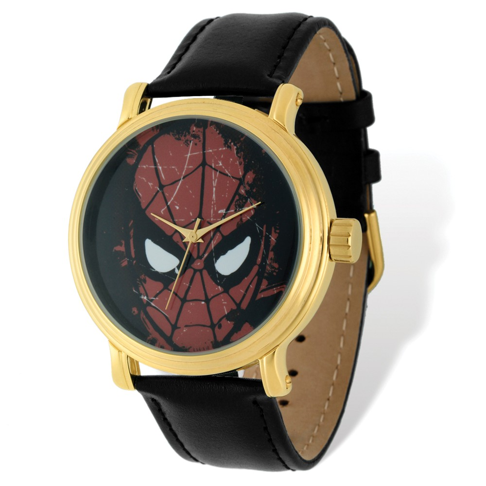 Spiderman | Leather | Marvel | Adult | Watch | Black | Size